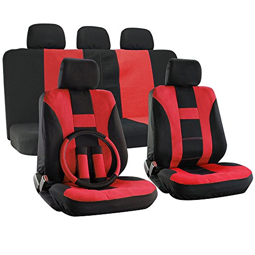OxGord H Stripe Universal Fit Airbag Compatible 17pc Seat Covers Red Black